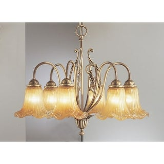 "Classic Lighting 5776 19"" Italian Glass & Brass Chandelier from the Venezia Collection"