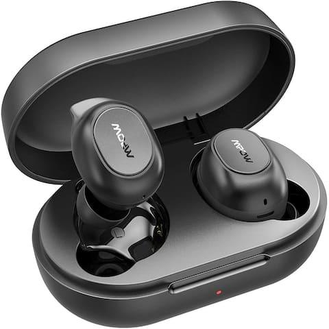 Mpow MDots Wireless Headphones in Ear w/Punchy Bass Sound, Precise Control Wireless Earphones, IPX6 Waterproof Earbuds, Black