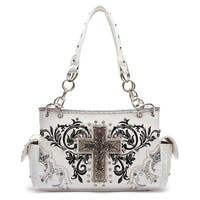 Amazing Grace Cross Rhinestone Embroidered Concealed Carry Purse