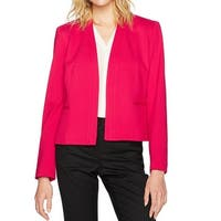 Nine West Deep Pink Womens Size 2 Open-Front Collarless Jacket