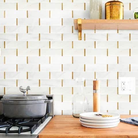 "TileGen. Natural Bianco 2"" x 6"" Subway Metal and Marble Mosaic Tile in Gold/White Wall Tile (10 sheets/9.7sqft.)"