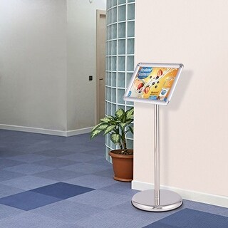Goplus Adjustable Pedestal Poster Stand Aluminum Snap Open Frame For 9.5'' x 13'' Graphic - Silver