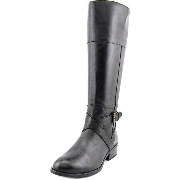 Lauren Ralph Lauren Mariah Wide Calf Women Leather Black Knee High Boot