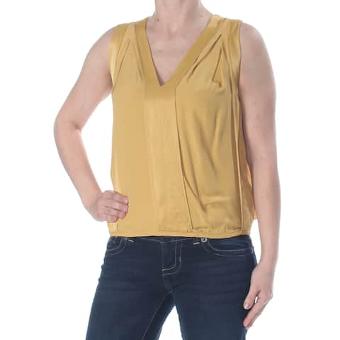 STUDIO M Womens Yellow Darted Textured Sleeveless Wear To Work Top Size: XS