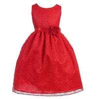 Little Girls Red Floral Lace Flower Girl Dress 2T-6X