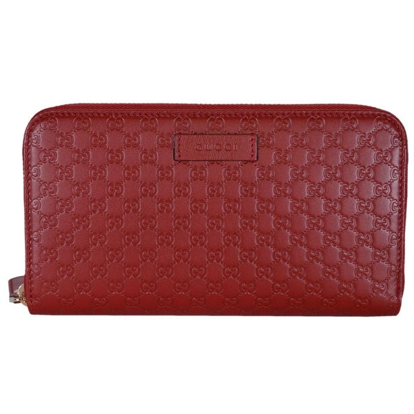 "Gucci Women's 449391 Red Leather Micro GG Guccissima Zip Around Wallet - 7.5"" x 4.5"""