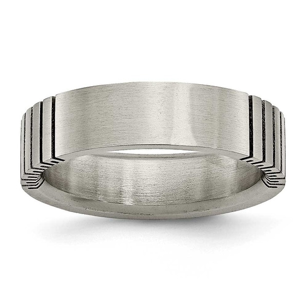 Chisel Black Accented Flat Brushed Titanium Ring (6.0 mm)