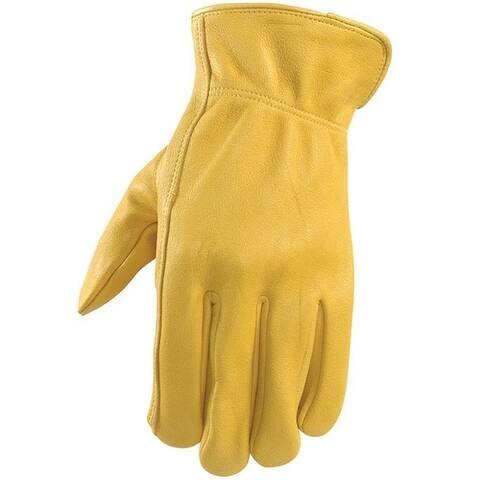Wells Lamont 984M Men's Leather Driver Gloves, Medium, Yellow