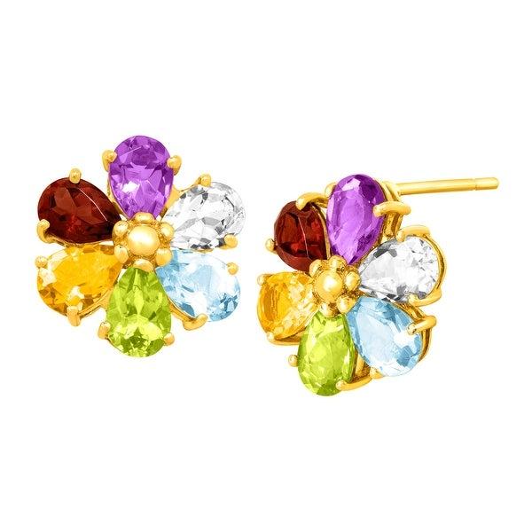 Multi-Color Gemstone Flower Earrings