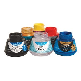 Speedball Super Pigmented Acrylic Ink and Pen Cleaner Set, Set of 6
