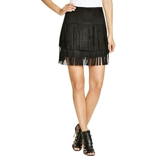 Aqua Womens Mini Skirt Faux Suede Fringe