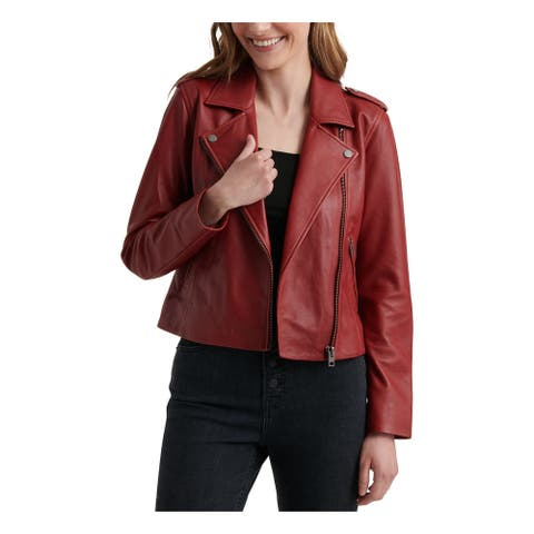 LUCKY BRAND Womens Burgundy Motorcycle Coat Size S