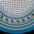 "Handmade 100% Cotton Elephant Mandala Floral Print 60"" Round Tablecloth Olive Green Purple & Azure Blue Green - Thumbnail 1"