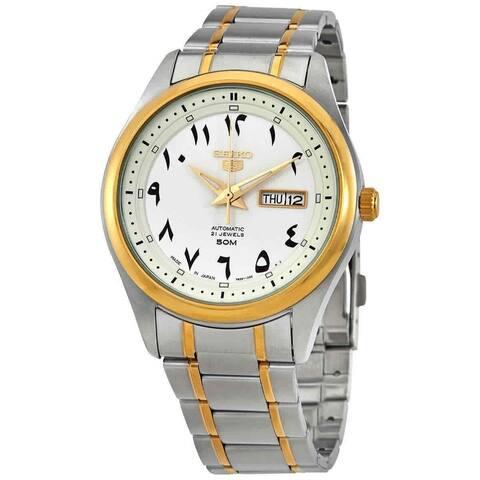 Seiko Men's SNKP22J1 'Seiko 5' Two-Tone Stainless Steel Watch - White