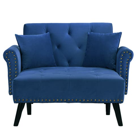 Victorian Velvet Chaise Lounge with Nailhead Accents