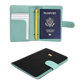 JAVOedge Two Tone Color RFID Blocking Passport Case and Bonus 3 Pack Clear Credit Card Holders