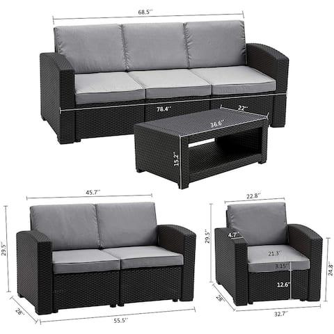 MCombo 7pcs Patio Furniture Set Outdoor Sectional Sofa Rattan Pattern Patio Conversation Set w/Seat Cushions 6050-700