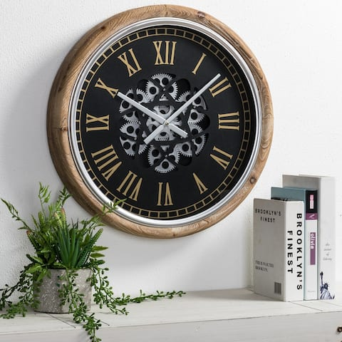 "Glitzhome 20.5""D Vintage Industral Firwood Wall Clock with Moving Gears"