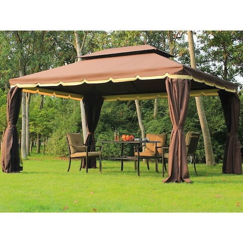 Outsunny 10 x 13 Aluminum Frame Soft Top Outdoor Patio Gazebo with Polyester Curtains and Air Venting Screens, Coffee