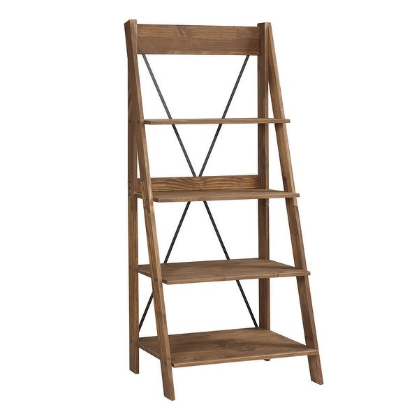 """Delacora WE-BDS68FRSW 18-1/4"""" Wide 4 Shelf Farmhouse Cross-Back Pine Shelving with Metal X Accent"""