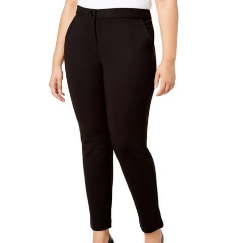 Alfani Womens Pants Black Size 20W Plus Ponte Skinny Leg Ankle Stretch