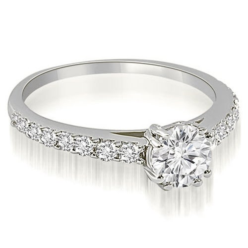 0.80 cttw. 14K White Gold Cathedral Round Cut Diamond Engagement Ring
