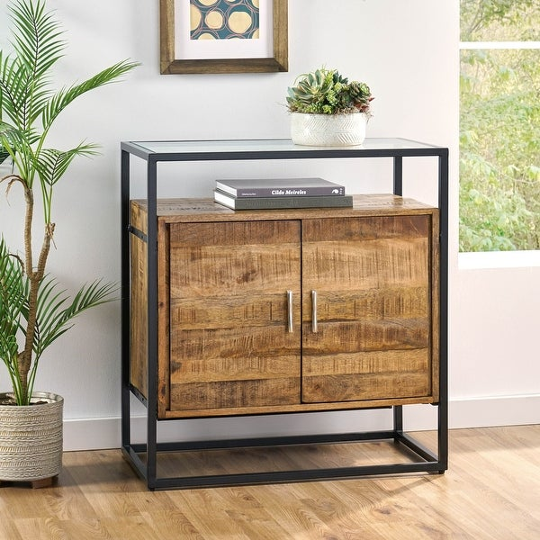 """Printz Mango Wood Handcrafted Cabinet with Glass Top by Christopher Knight Home - 30.00"""" L x 16.00"""" W x 32.25"""" H"""