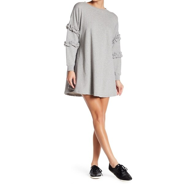 fd71323ecc Shop Solutions Gray Womens Size Large L Ruffle Trim Knit Sweater Dress -  Free Shipping On Orders Over  45 - Overstock - 22334639