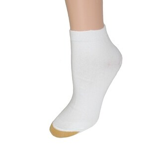 Gold Toe Women's Cotton Plus Size Quarter Ankle Sock (Pack of 6), Shoe Size 8 - 13, White