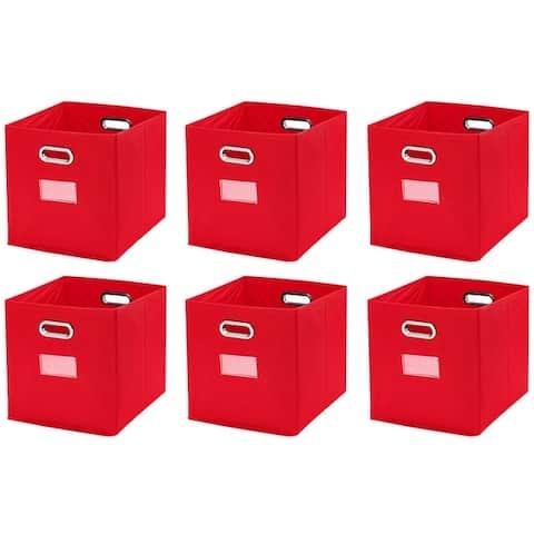"Foldable Storage Bins Basket Cube Organizer with Dual Handles and Window Pocket - 6 Pack - 12"" L x 12"" W x 12"" H - 12 x 12 x 12"