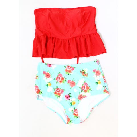 Bandea Red Blue Womens Size 3X Floral RuffleTwo Piece Swimwear