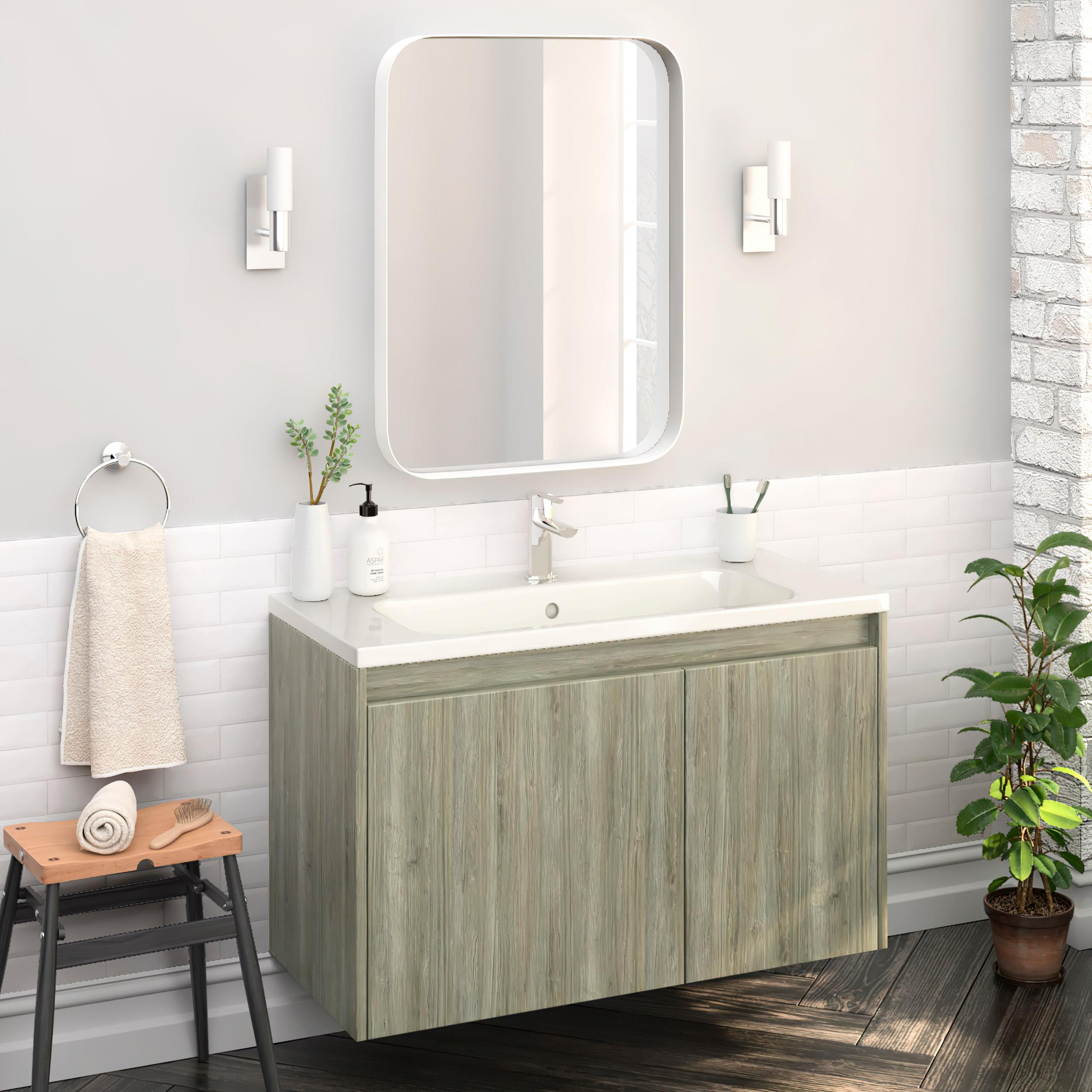 40 Modern Bathroom Vanity Cabinet Village Sahalie Pine Wood 40 X 24 X 18 Inch Vanity Cabinet Ceramic Top Sink On Sale Overstock 31103891