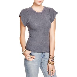 Free People Womens T-Shirt Ribbed Knit Thermal