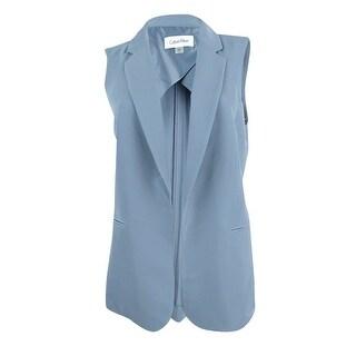 Calvin Klein Women's Petite Open-Front Vest (8P, Soft Blue) - Soft Blue - 8P