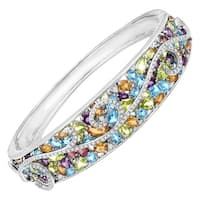 13 ct Natural Multi Semi-Precious Stone & 3/8 ct Diamond Swirl Bangle in Sterling Silver