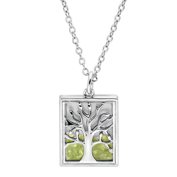 f1b4688b2c76a3 Natural Peridot Tree of Love Shaker Pendant in Rhodium-Plated Brass - Green