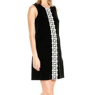 Jessica Simpson NEW Black Womens Size 14 Velvet Embroidered Shift Dress