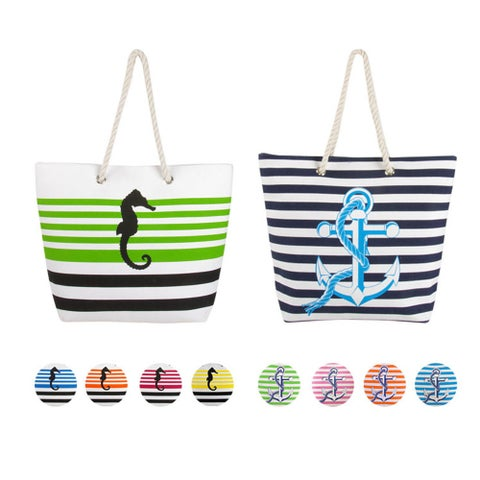 Swan Comfort Striped Canvas Beach Bag Sea Horse & Anchor Desing - Tote Bag - Medium