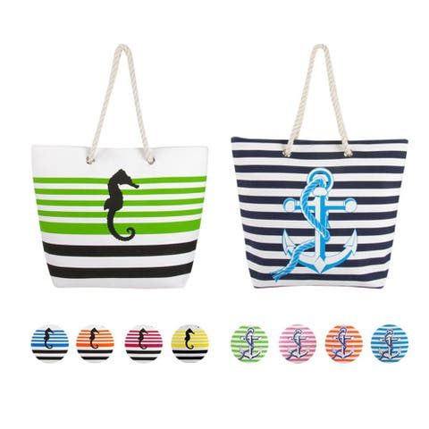 Swan Comfort Striped Canvas Beach Bag Sea Horse & Anchor Desing - Tote Bag - Medium