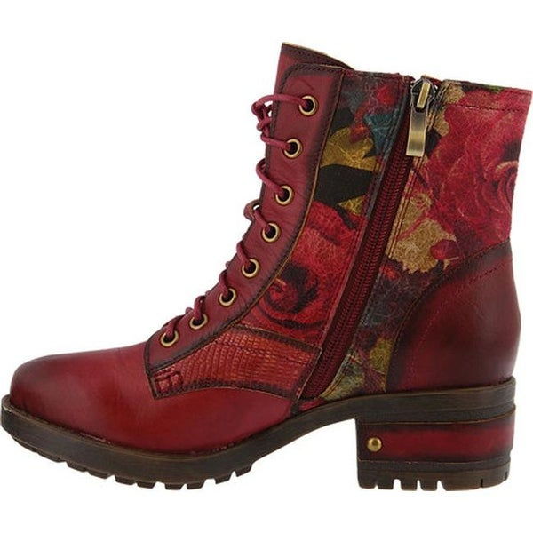 Marty Lace Up Boot Red Leather