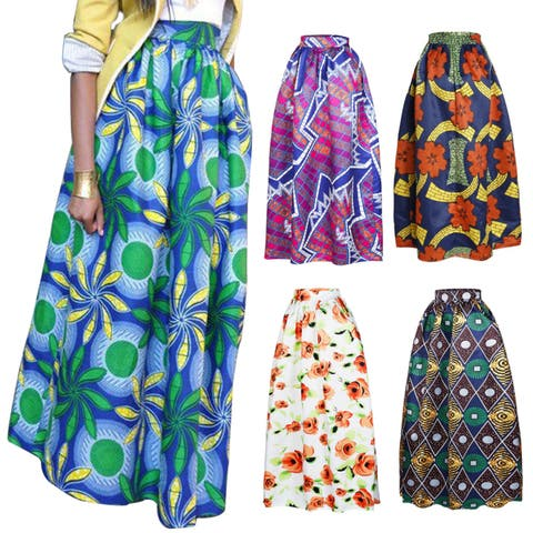f38fb08ae8a Women Casual African Geometric Floral Print A-Line High Waisted Maxi Long  Skirt