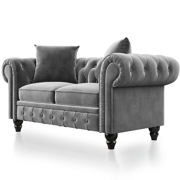 Kinwell 2 Pieces Tufted Velvet Upholstered Loveseat 3 Seat Sofa Roll Arm Classic Chesterfield Sofa Set 5 Pillows Included Overstock 32173864