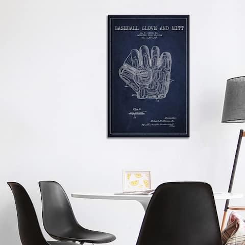 "iCanvas ""Baseball Glove Navy Blue Patent Blueprint"" by Aged Pixel Canvas Print"