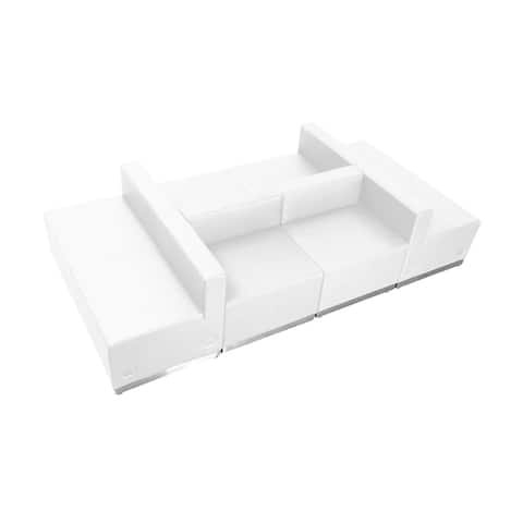 Offex 6 Piece Contemporary Melrose White Leather Reception Configuration [OFX-274356-FF]