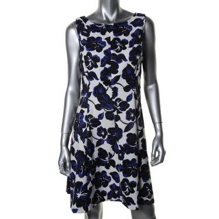 Jessica Howard Womens Petites Floral Print Sleeveless Casual Dress