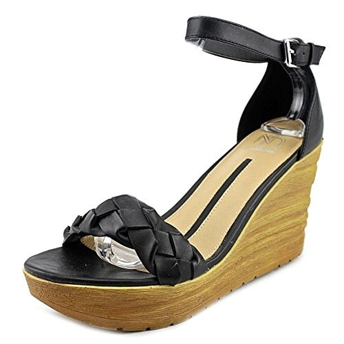 New Directions Womens Spruce Open Toe Ankle Strap Wedge Pumps
