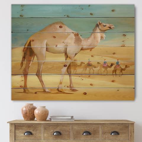 Designart 'Camels In Desert' Farmhouse Print on Natural Pine Wood