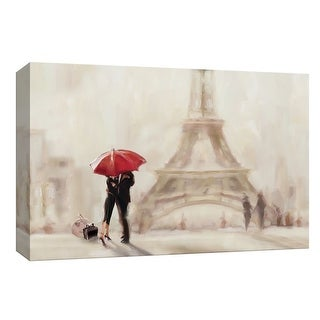 """PTM Images 9-148177  PTM Canvas Collection 8"""" x 10"""" - """"Paris Moment"""" Giclee Silhouettes Art Print on Canvas"""