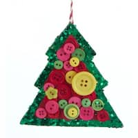 "4"" Bohemian Holiday Yellow, Pink and Green Glittered Christmas Tree with Buttons Holiday Ornament"