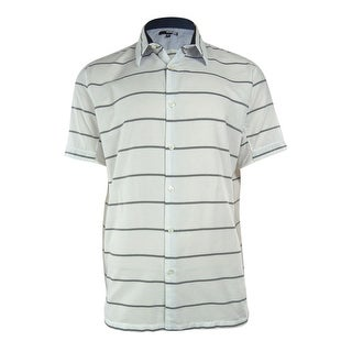 Murano Men's Coastal Collection Slim Fit Striped Shirt